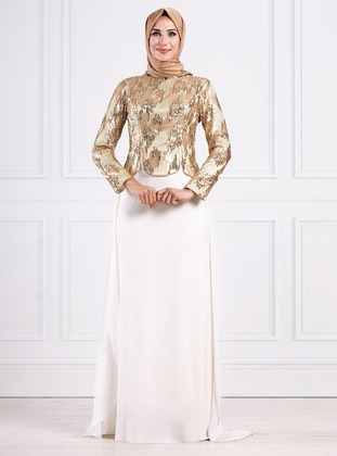 Cream - Fully Lined - Crew neck - Viscose - Muslim Evening Dress