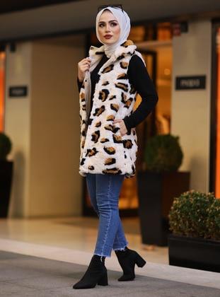 Ecru - Leopard - Fully Lined -  - Vest
