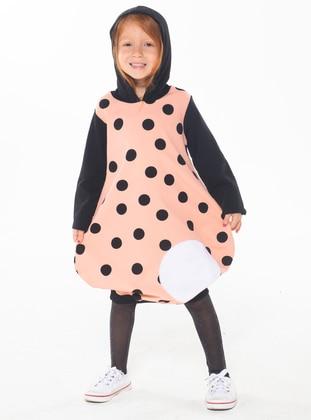 Polka Dot - Crew neck -  - Unlined - Pink - Girls` Dress