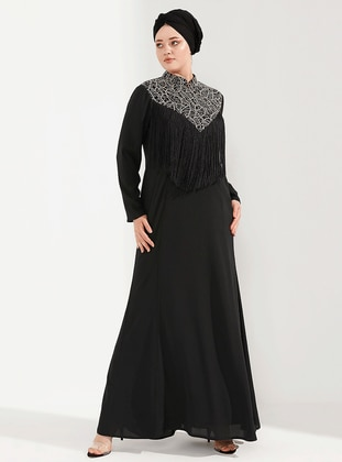 Gold - Black - Unlined - Crew neck - Muslim Plus Size Evening Dress