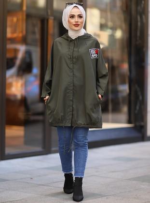 Khaki - Green - Unlined - Button Collar - Topcoat