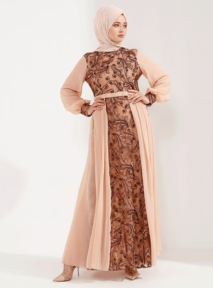 Copper - Salmon - Unlined - Crew neck - Muslim Plus Size Evening Dress