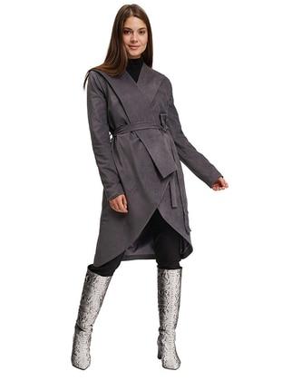 Gray - Fully Lined - Viscose - Coat