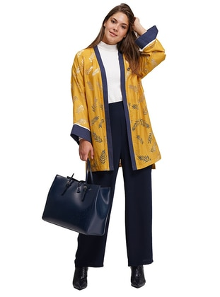 Mustard - Floral - Unlined - Crew neck - Viscose - Abaya
