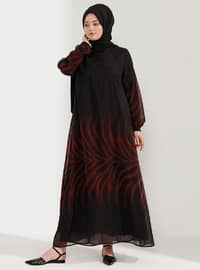 Maroon - Black - Unlined - Crew neck - Plus Size Dress
