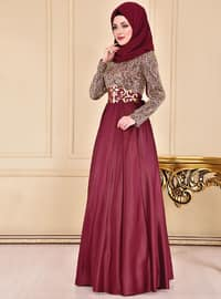 Maroon - Crew neck - Fully Lined - Dress