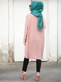 Salmon - Crew neck - Crepe - Tunic