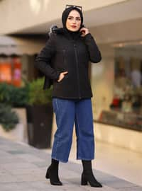 Black - Leopard - Fully Lined -  - Puffer Jackets