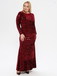 Maroon - Unlined - Crew neck - Muslim Plus Size Evening Dress