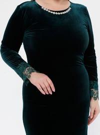 Green - Unlined - Crew neck - Muslim Plus Size Evening Dress