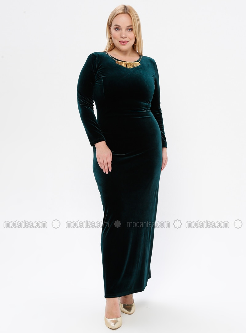 Green - Unlined - Crew neck - Muslim Plus Size Evening Dress