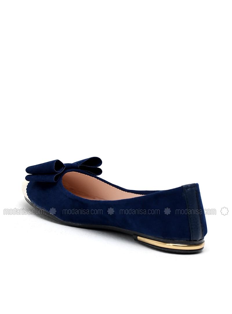 White - Navy Blue - Flat - Flat Shoes