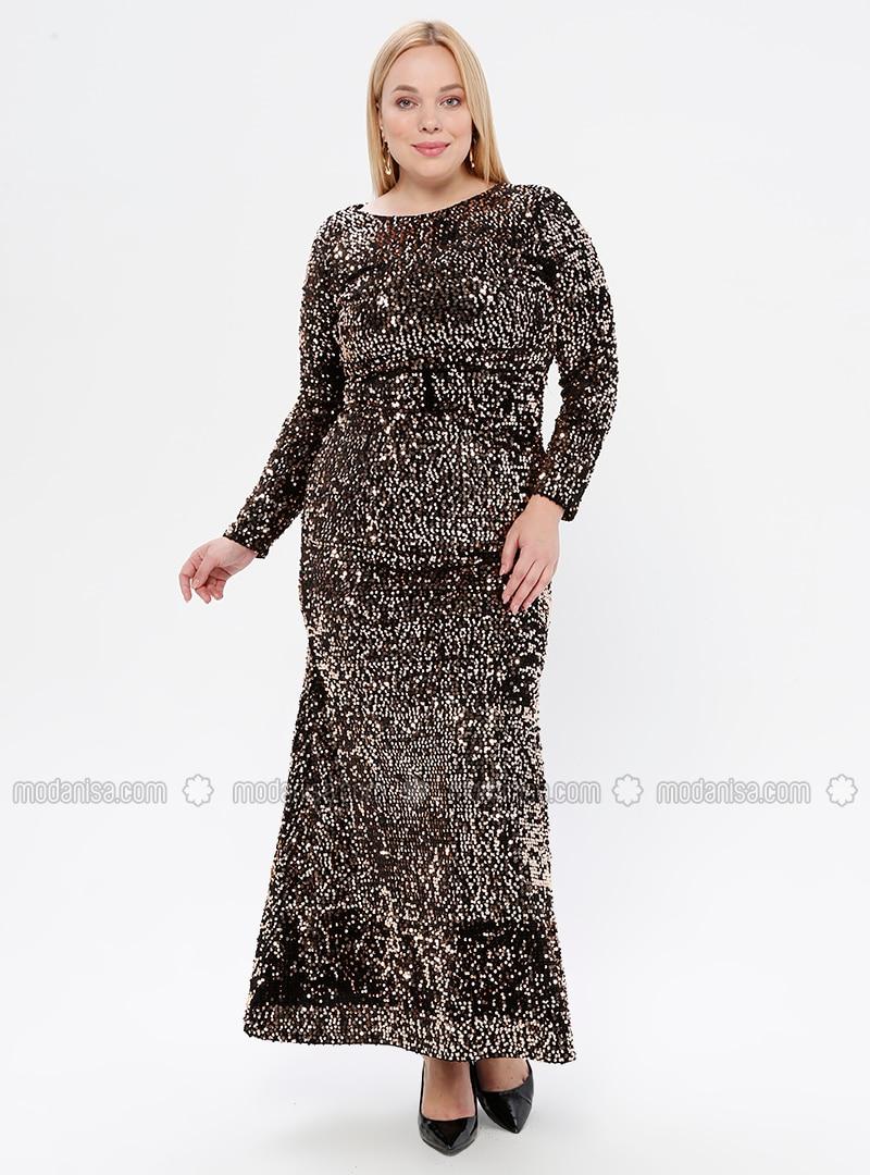 Gold - Black - Unlined - Crew neck - Muslim Plus Size Evening Dress