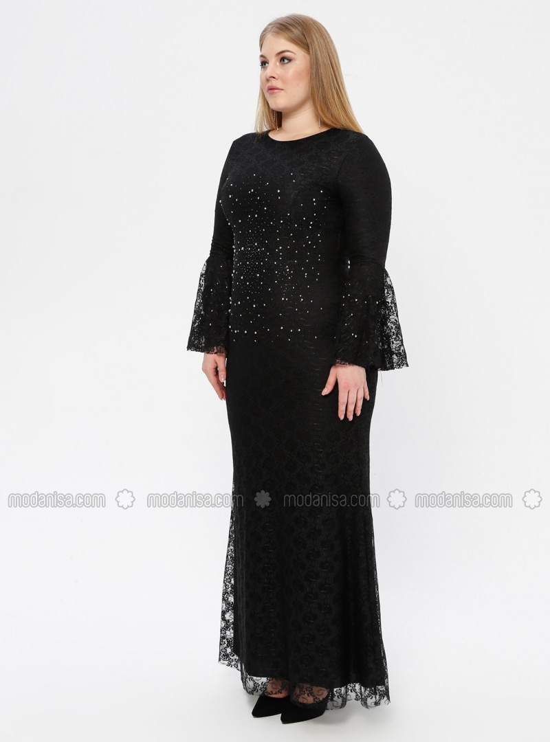Black Fully Lined Crew Neck Muslim Plus Size Evening Dress