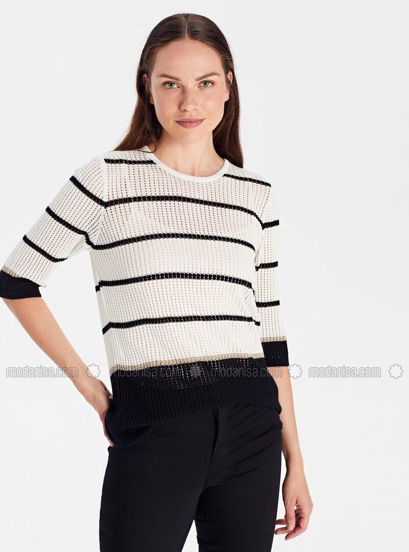 Stripe - Crew neck - Black - Jumper
