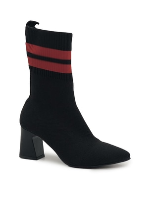 Red - Black - Boot - Acrylic -  - Wool Blend - Boots