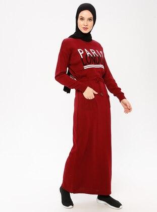 Maroon - Crew neck - Acrylic - Wool Blend - Dress