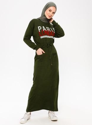 Khaki - Crew neck - Acrylic - Wool Blend - Dress