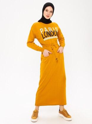 Mustard - Crew neck - Acrylic - Wool Blend - Dress