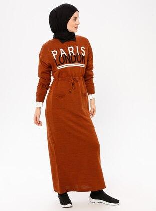 Terra Cotta - Crew neck - Acrylic - Wool Blend - Dress