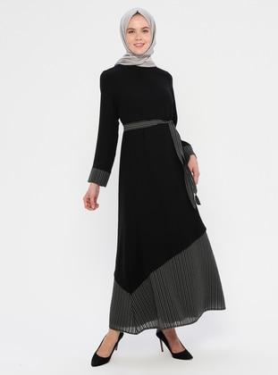 Black - Stripe - Polo neck - Fully Lined - Dress