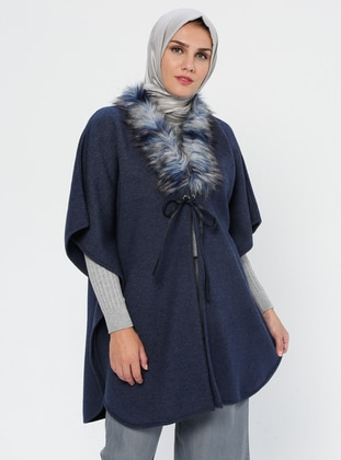 Navy Blue - Unlined - Acrylic - Wool Blend - Poncho