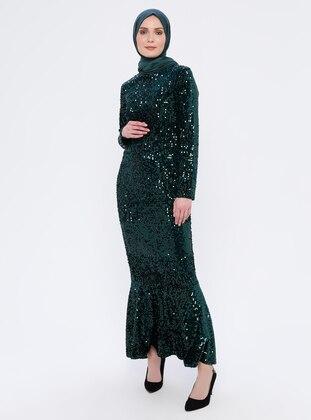 Green - Fully Lined - Crew neck -  - Muslim Evening Dress