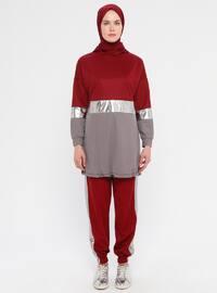 Maroon - Gray - Unlined - Suit