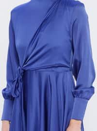 Indigo - Blue - Crew neck - Fully Lined -  - Muslim Evening Dress