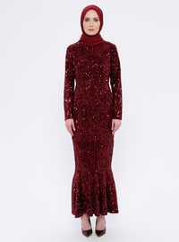 Maroon - Fully Lined - Crew neck -  - Muslim Evening Dress