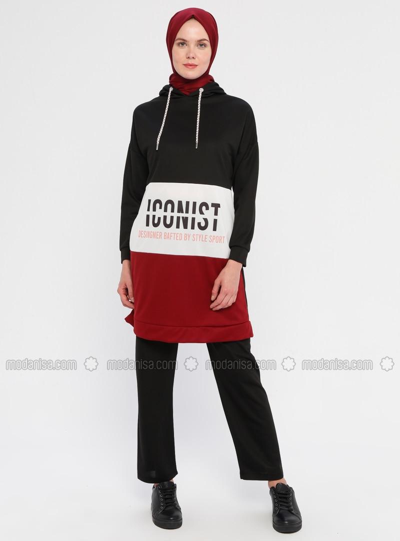Maroon - Black - Unlined - Suit