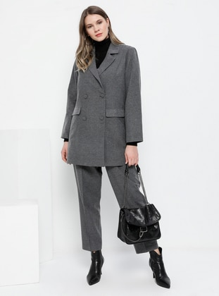 Anthracite - Shawl Collar - Fully Lined -  - Plus Size Suit - Alia