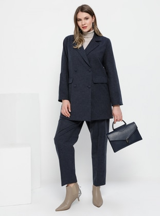 Navy Blue - Shawl Collar - Fully Lined -  - Plus Size Suit