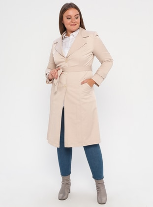 Beige - Fully Lined - Shawl Collar - Polyurethane - Plus Size Trench coat