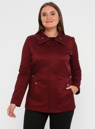 Maroon - Fully Lined - Polo neck - Polyurethane - Plus Size Trench coat