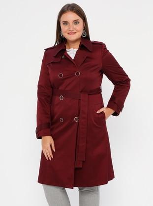 Maroon - Fully Lined - Shawl Collar - Polyurethane - Trench Coat