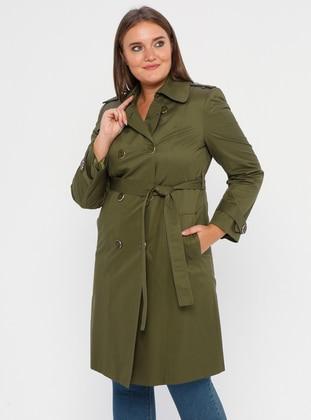 Khaki - Fully Lined - Shawl Collar - Polyurethane - Trench Coat