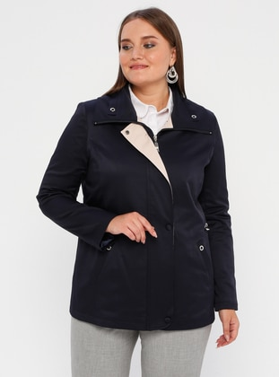 Navy Blue - Fully Lined - Polo neck - Polyurethane - Plus Size Trench coat
