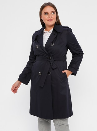 Navy Blue - Fully Lined - Shawl Collar - Polyurethane - Trench Coat