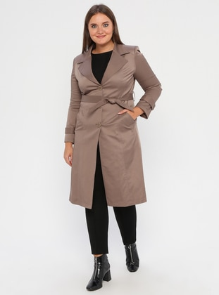 Mink - Fully Lined - Shawl Collar - Polyurethane - Plus Size Trench coat