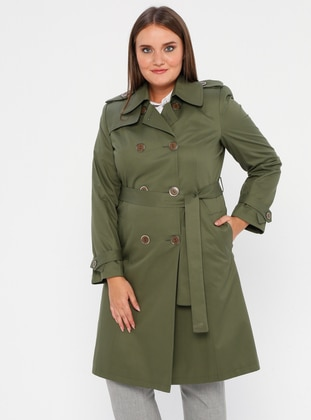 Green - Fully Lined - Shawl Collar - Polyurethane - Trench Coat