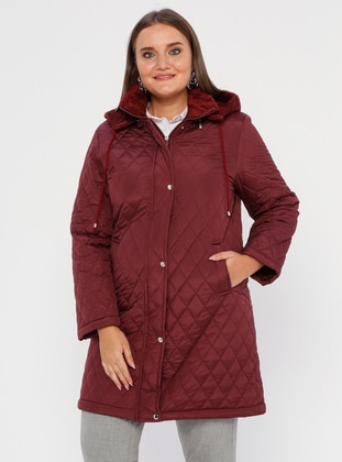 Maroon - Fully Lined -  - Plus Size Overcoat - BUTİK VEDAT
