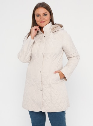 Stone - Fully Lined -  - Plus Size Overcoat
