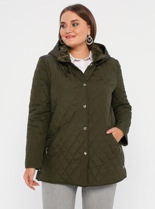 Khaki - Fully Lined - Crew neck -  - Plus Size Coat