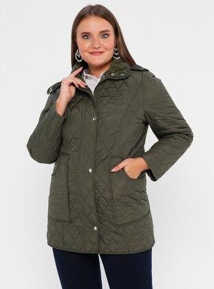 Khaki - Fully Lined - Polo neck -  - Plus Size Coat