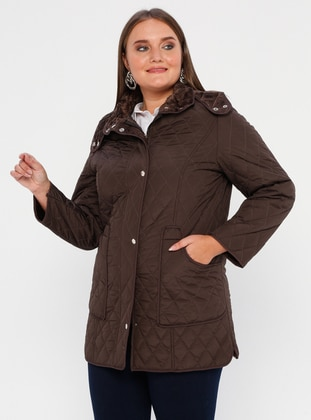 Brown - Fully Lined - Polo neck -  - Plus Size Coat - BUTİK VEDAT