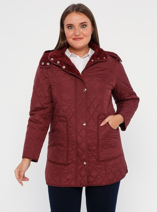Plum - Fully Lined - Polo neck -  - Plus Size Coat - BUTİK VEDAT