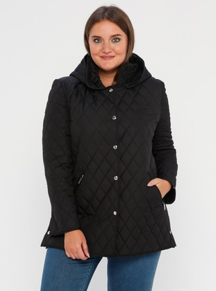Black - Fully Lined - Crew neck -  - Plus Size Coat - BUTİK VEDAT