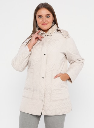 Stone - Fully Lined - Polo neck -  - Plus Size Coat - BUTİK VEDAT