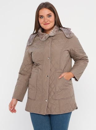 Mink - Fully Lined - Polo neck -  - Plus Size Coat - BUTİK VEDAT